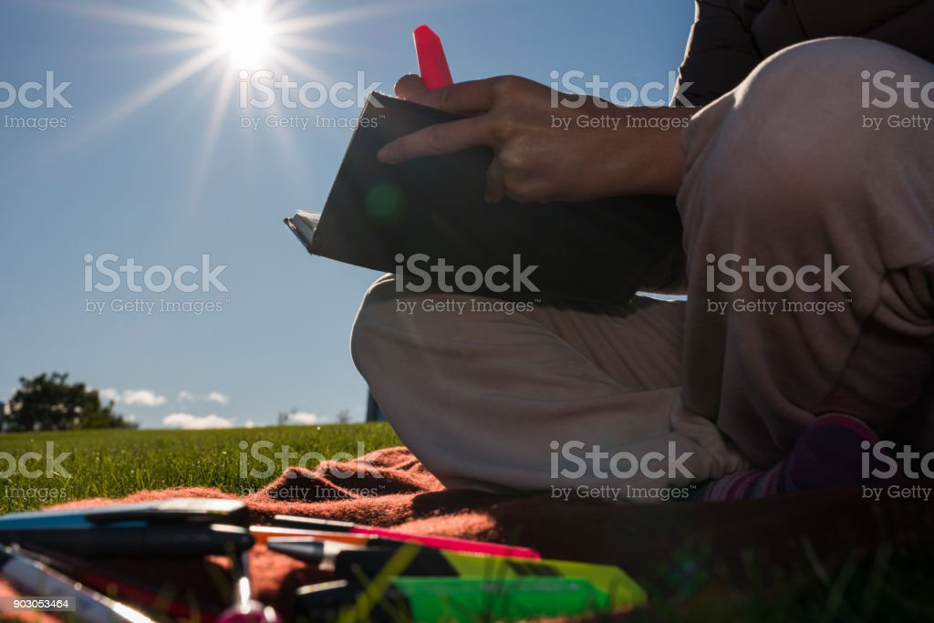 Close up of learning in nature. stock photo