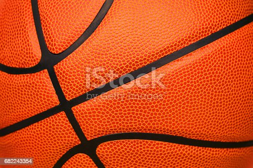 istock Close up of leather basketball background textured 682243354
