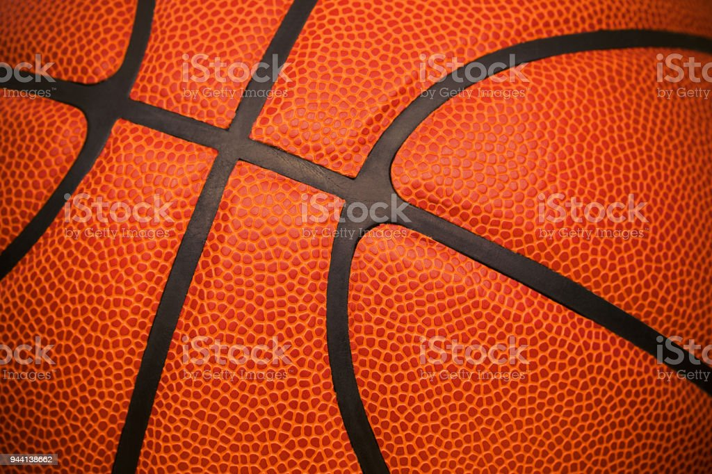 Close up of leather basketball background textured stock photo