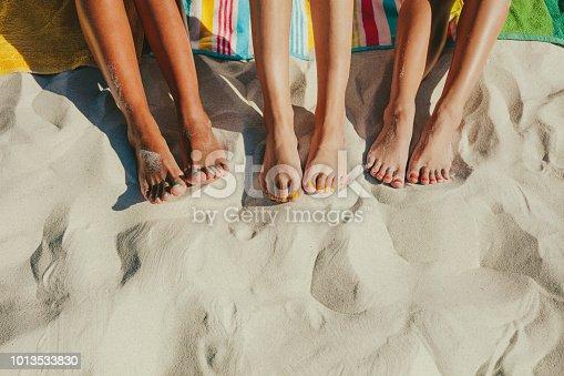 istock Close up of legs of three women at the beach 1013533830