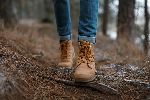 Close up of legs walking in the forest