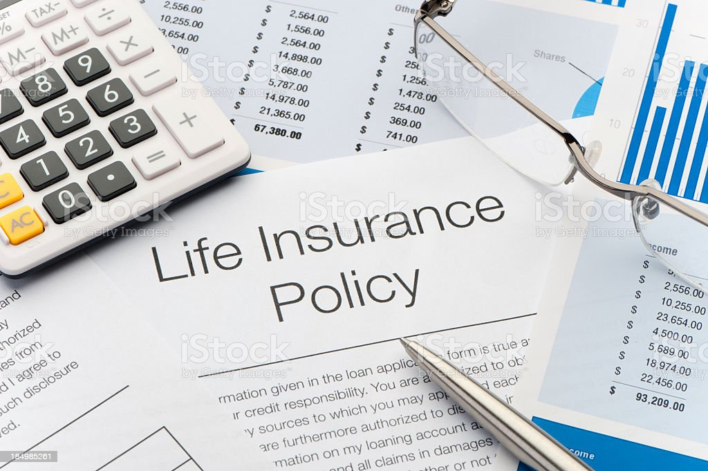 Close up of Life Insurance Policy royalty-free stock photo