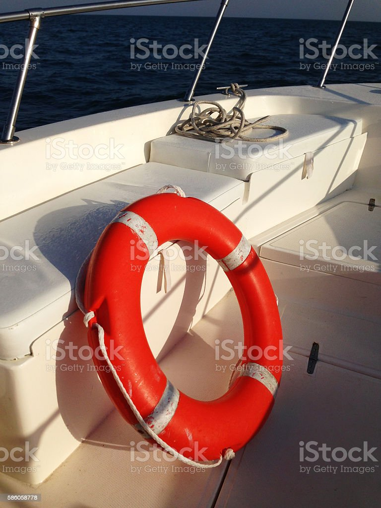 Close up of lifebelt on a boat stock photo