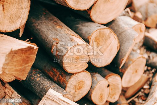 Close up of logs stacked on pile.