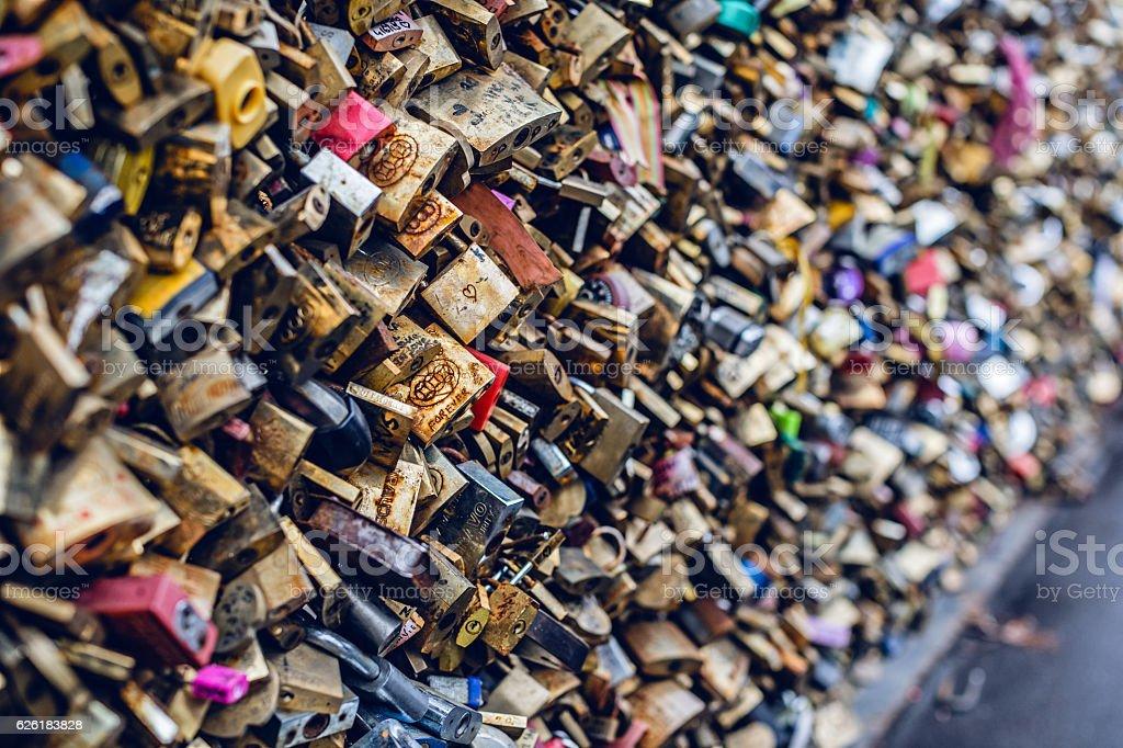 Close up of love padlocks stock photo