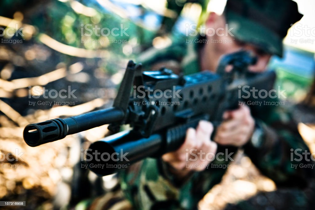 close up of M16 and grenade launcher royalty-free stock photo