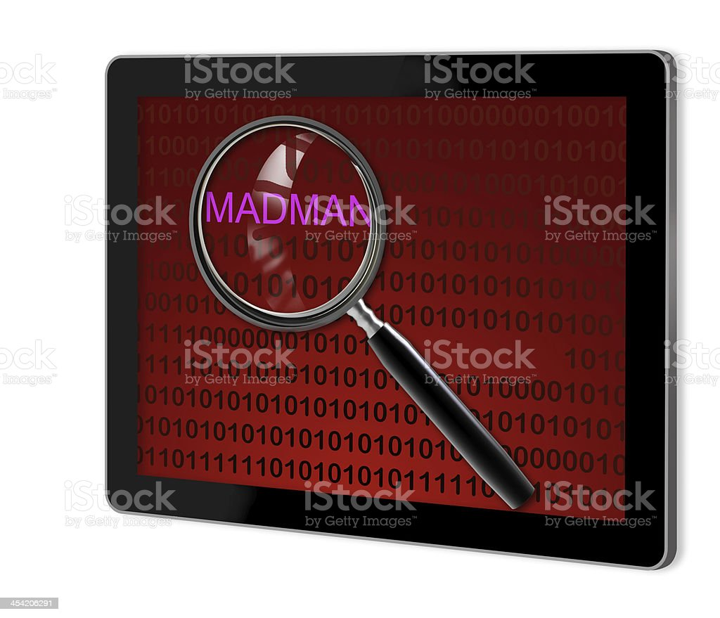 close up of magnifying glass on madman royalty-free stock photo