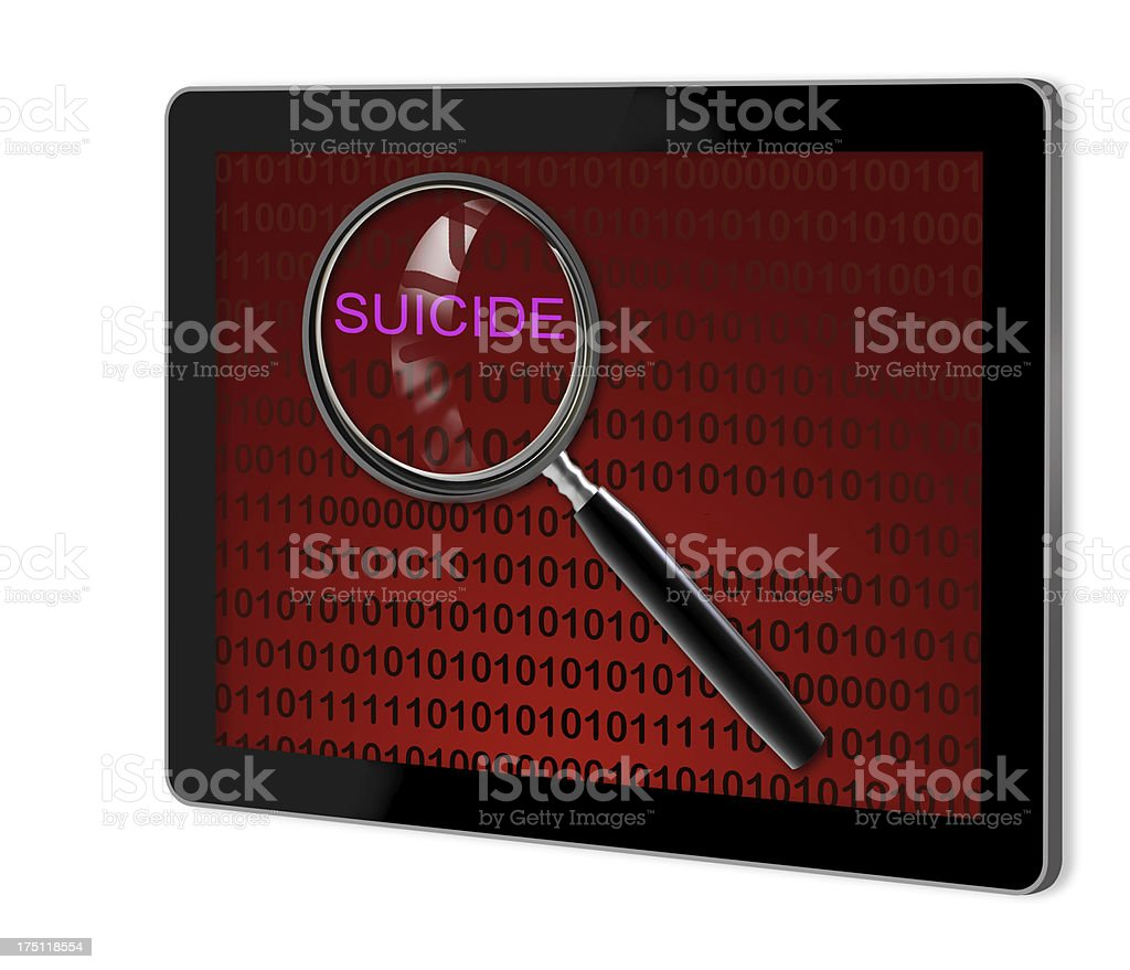 close up of magnifying glass on suicide royalty-free stock photo