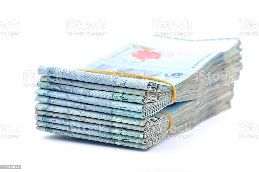 Close up Of Malaysia Currency On White Background, Selective focus stock photo
