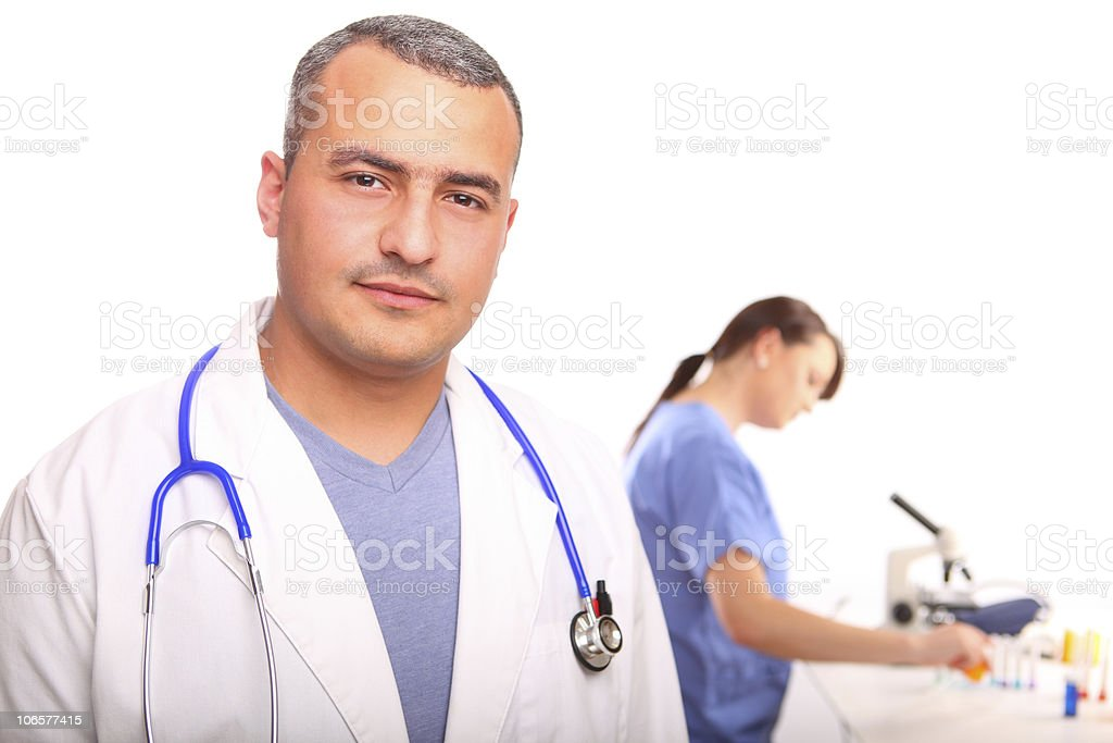 Close up of male Doctor with a female nurse royalty-free stock photo