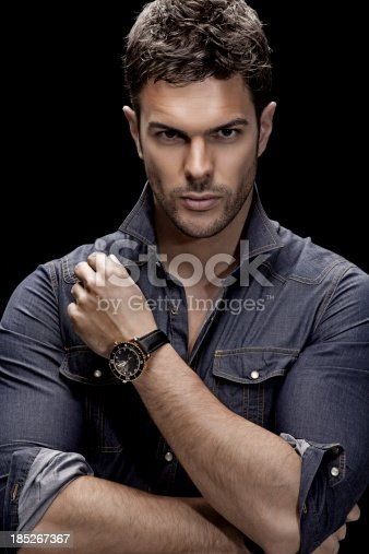 Close Up Of Male Model Posing With Watches Stock Photo ...