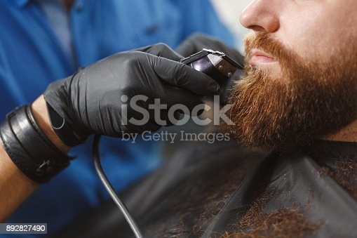 986804130istockphoto Close up of male professional hairdresser serving client with thick big beard by clipper. Ginger handsome brutal stylish young man getting trendy haircut in black cape. Light white barber shop room 892827490