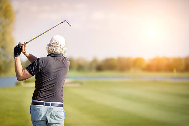 Close up of male senior golf player. stock photo