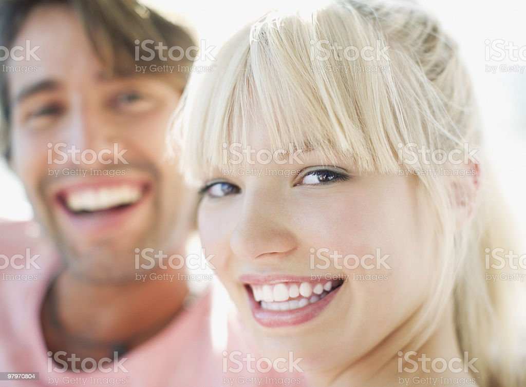Close up of man and woman smiling royalty-free stock photo