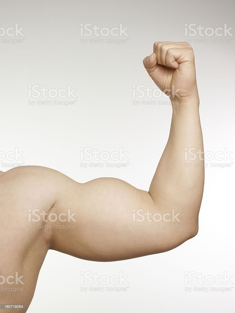 Close up of man arm showing biceps royalty-free stock photo
