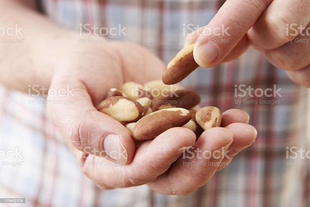 Close Up Of Man Eating Healthy Brazil Nuts stock photo