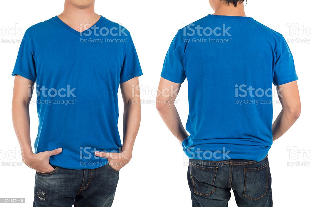 Close up of man in front and back blue shirt. stock photo
