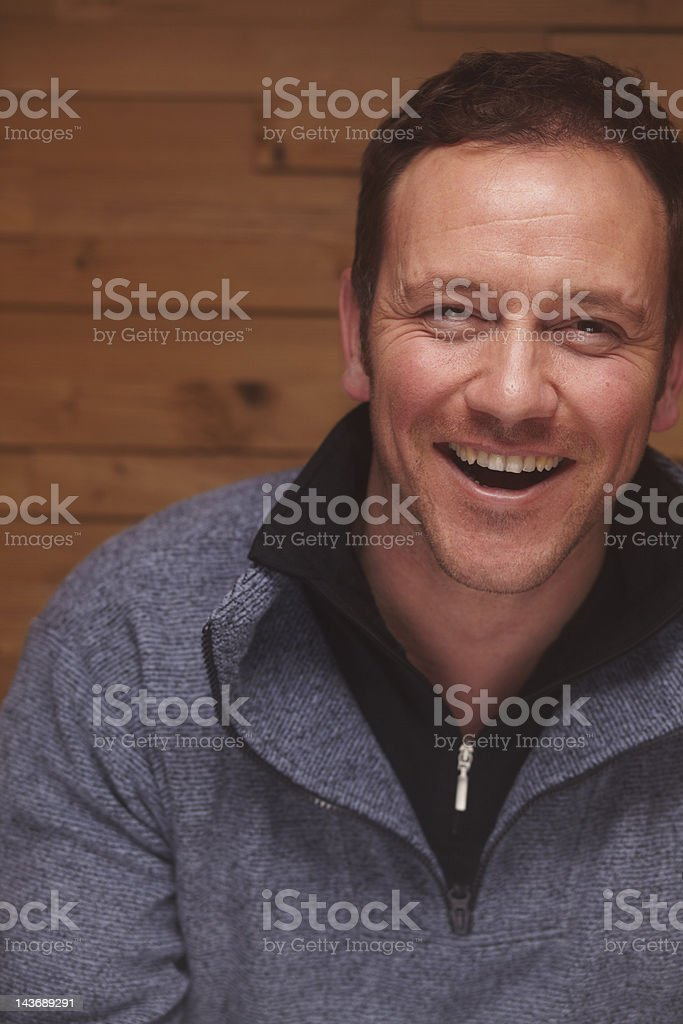 Close up of man laughing stock photo