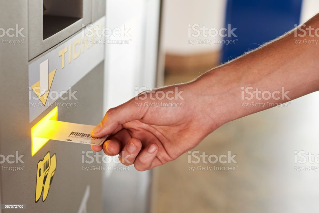 Close Up Of Man Paying For Car Parking At Machine stock photo