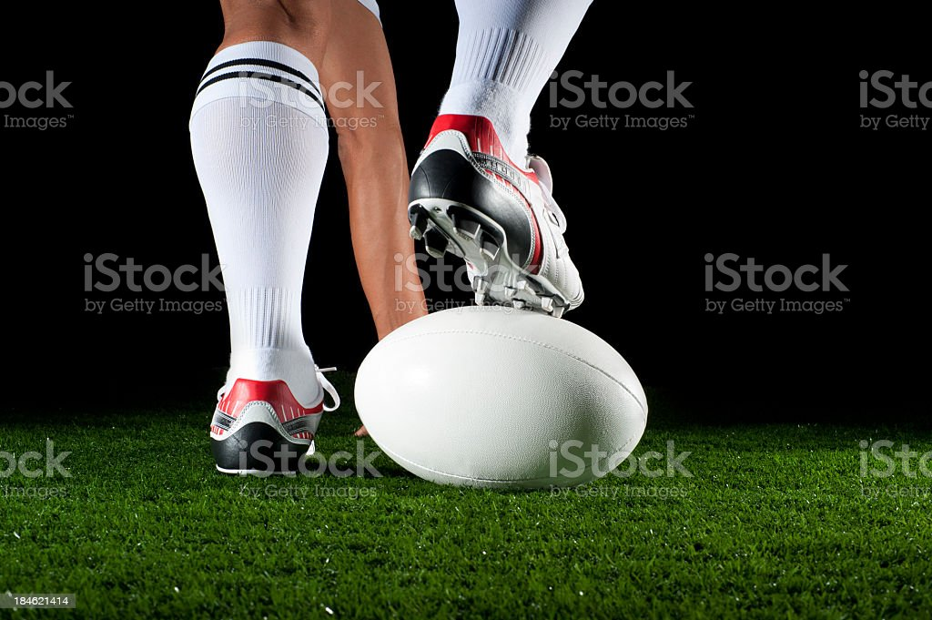 Close up of man playing a rugby ball stock photo