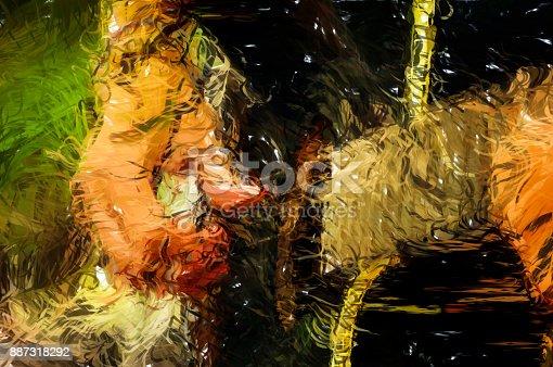 istock Close up of man playing guitar - Digital Illustration 887318292