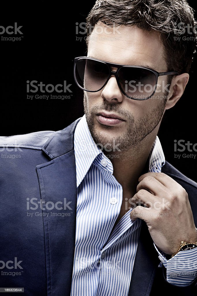 close up of man wearing sunglasses royalty-free stock photo