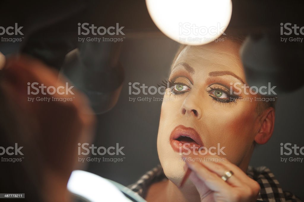 Close Up of Man with Makeup stock photo