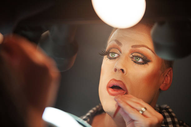 close up of man with makeup - transvestite stock photos and pictures