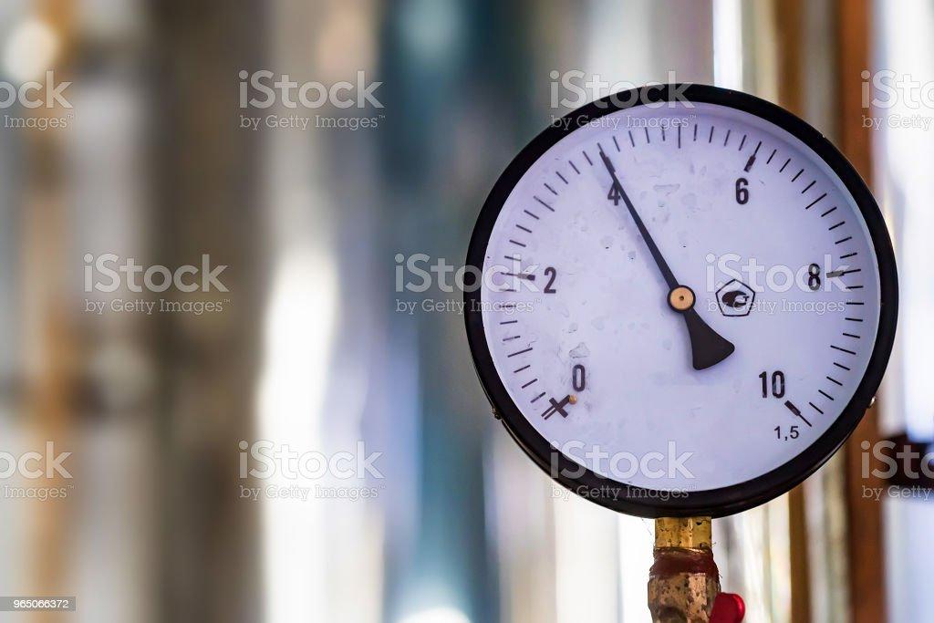 Close up of manometer or pressure gauge at winery zbiór zdjęć royalty-free