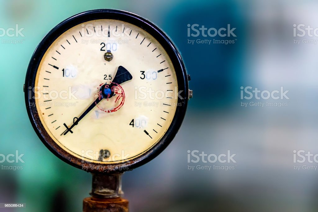 Close up of manometer or pressure gauge at winery zbiór zdjęć royalty-free