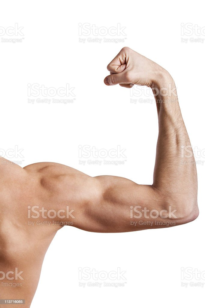 Close up of man's muscular arm stock photo