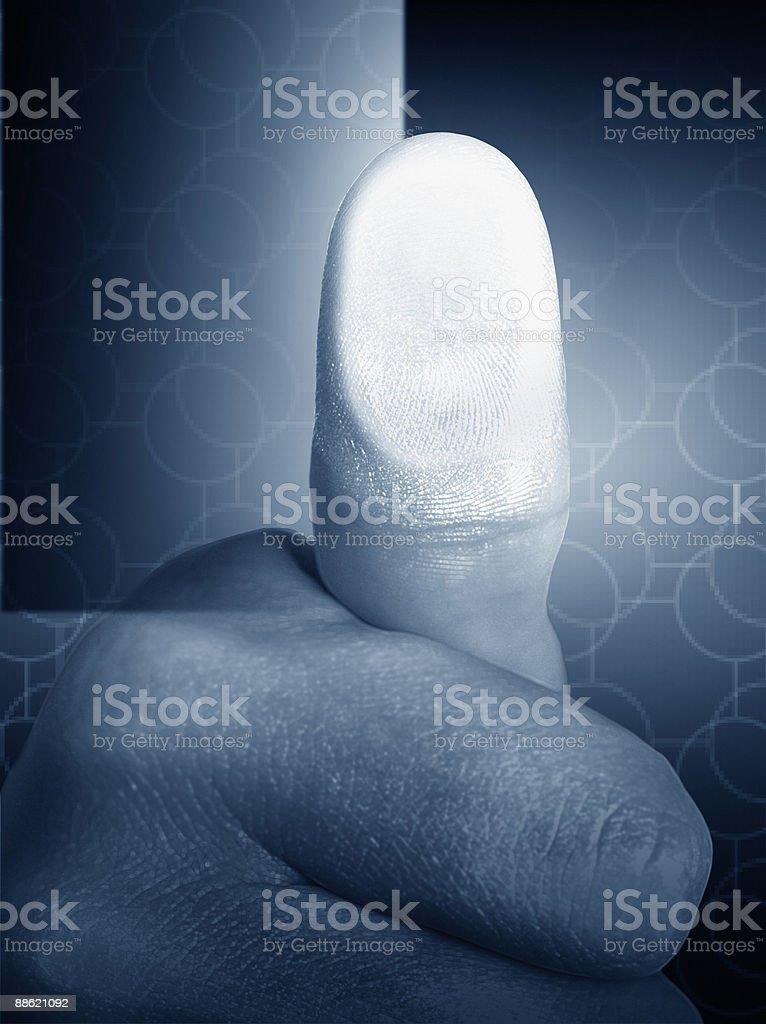 Close up of mans thumb print stock photo