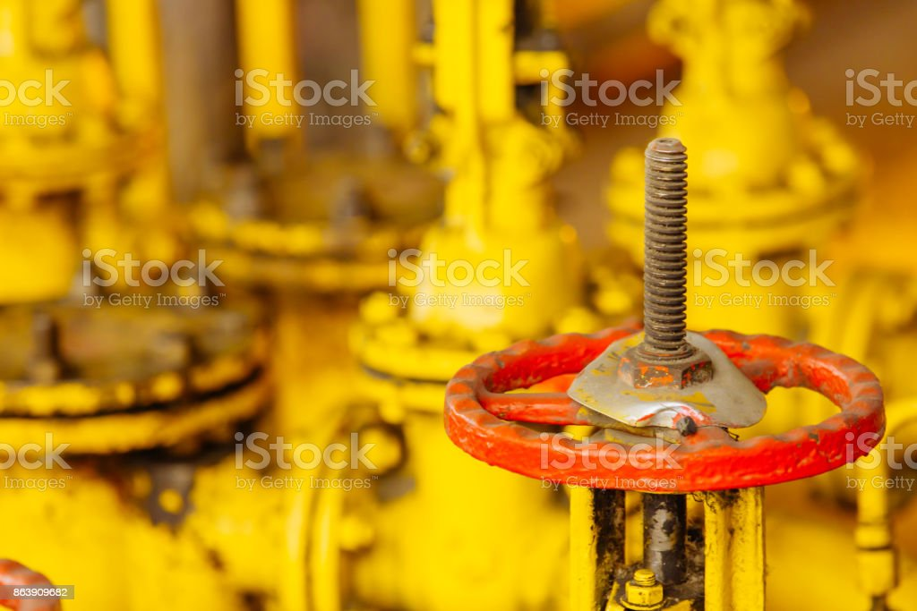 Close up of manual operate ball valve at factory. Pipes and valves industrail equipment. stock photo
