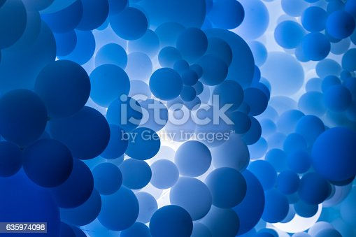 istock Close up of many blue balloons floating in a row 635974098
