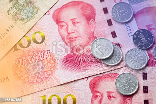 istock Close up of Mao Tse tung of China Yuan banknote. Yuan is the main exchange currency in the world. 1168407886