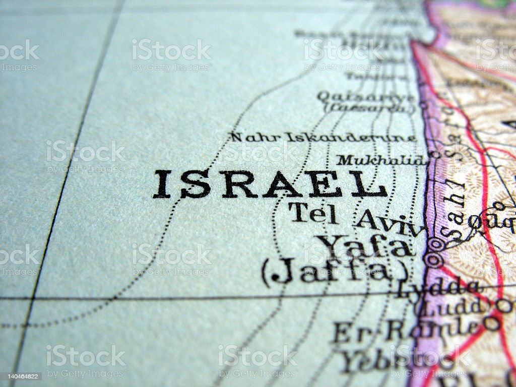 Close up of map showing Israel and the Mediterranean The way we looked at Israel in 1949. Book Stock Photo
