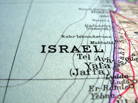 Close Up Of Map Showing Israel And The Mediterranean Stock Photo - Download Image Now