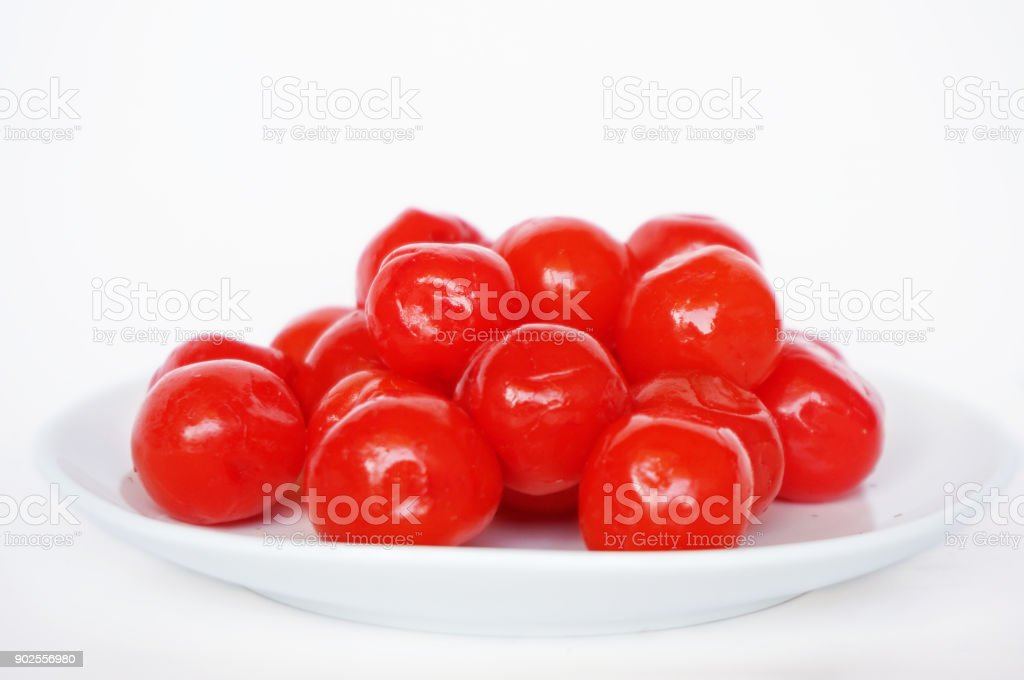Close up of Maraschino cherries stock photo