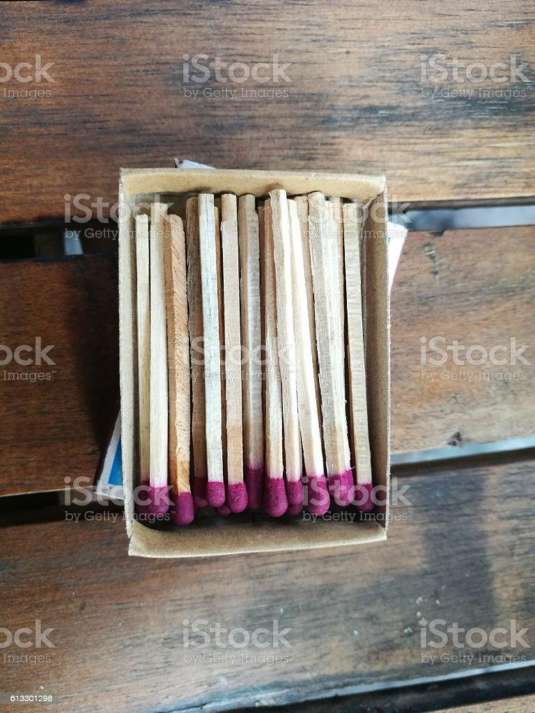 Close up of match stick and match box stock photo