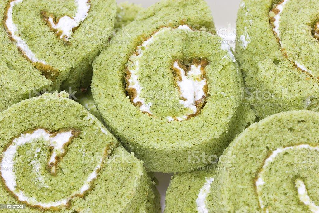 Close up of matcha cake rolls. stock photo