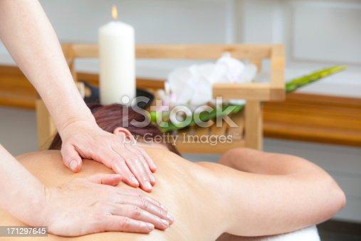 istock Close up of mature woman having massage 171297645