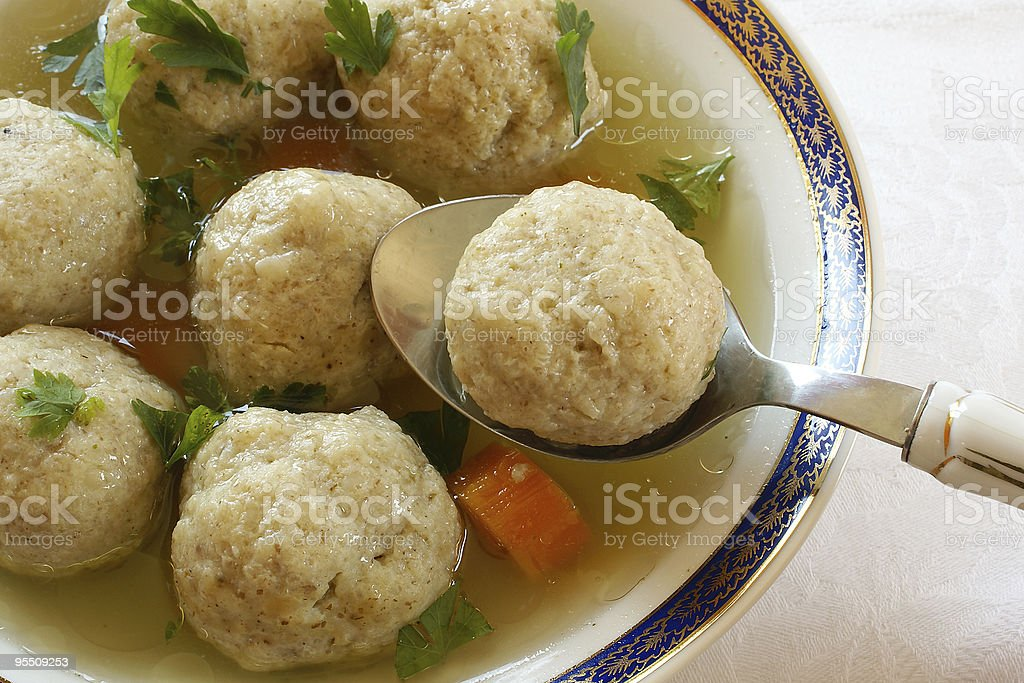 Close up of Matzo (Matzah) balls soup stock photo