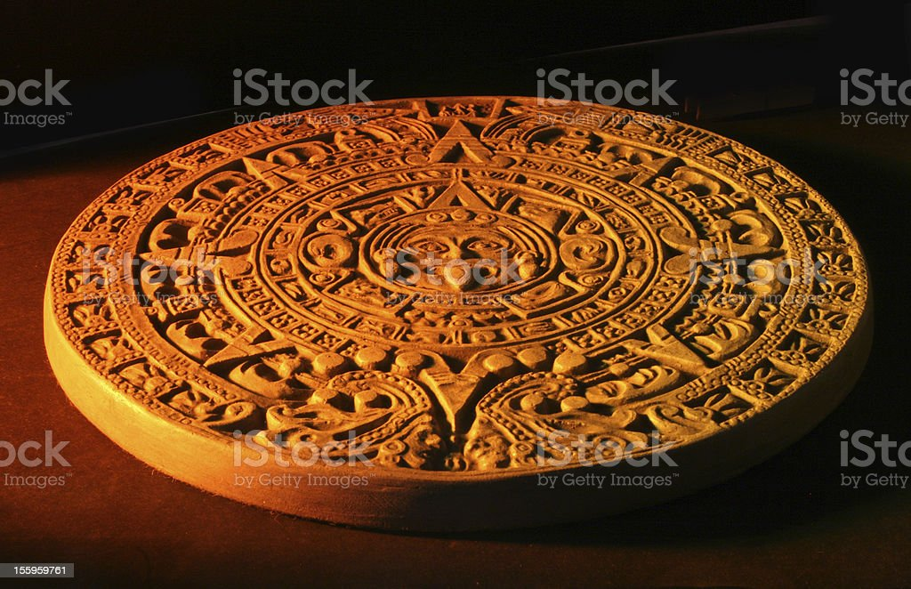 Close up of Mayan calendar. stock photo