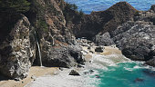 close up of mcway falls at julia pfeiffer burns state park on the california coast in big sur