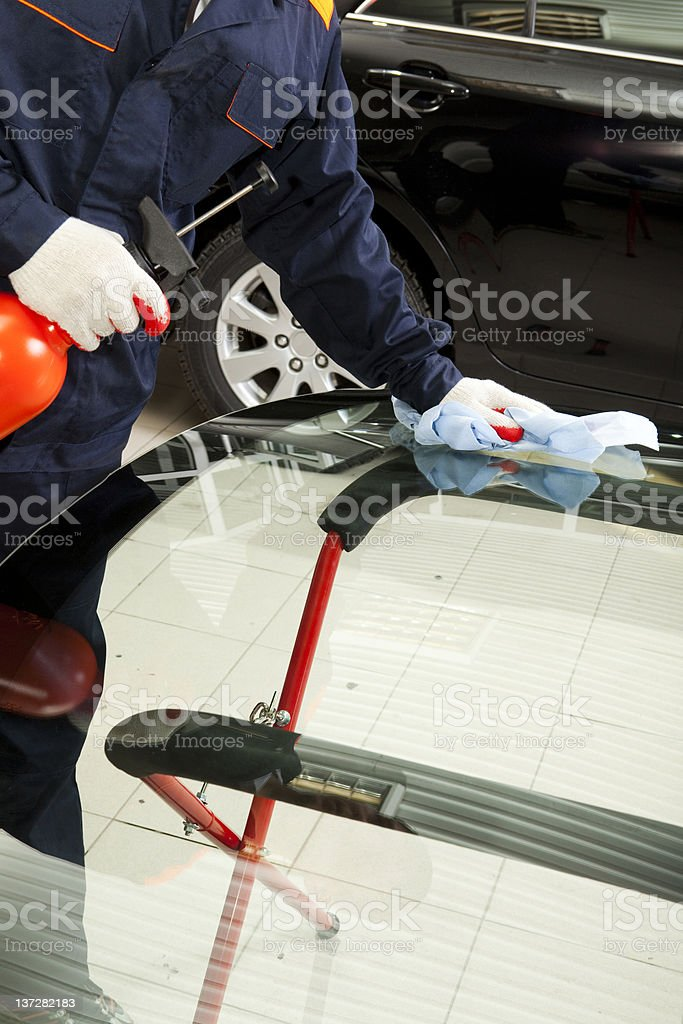 Close up of mechanic working  in Auto Repair Shop. royalty-free stock photo