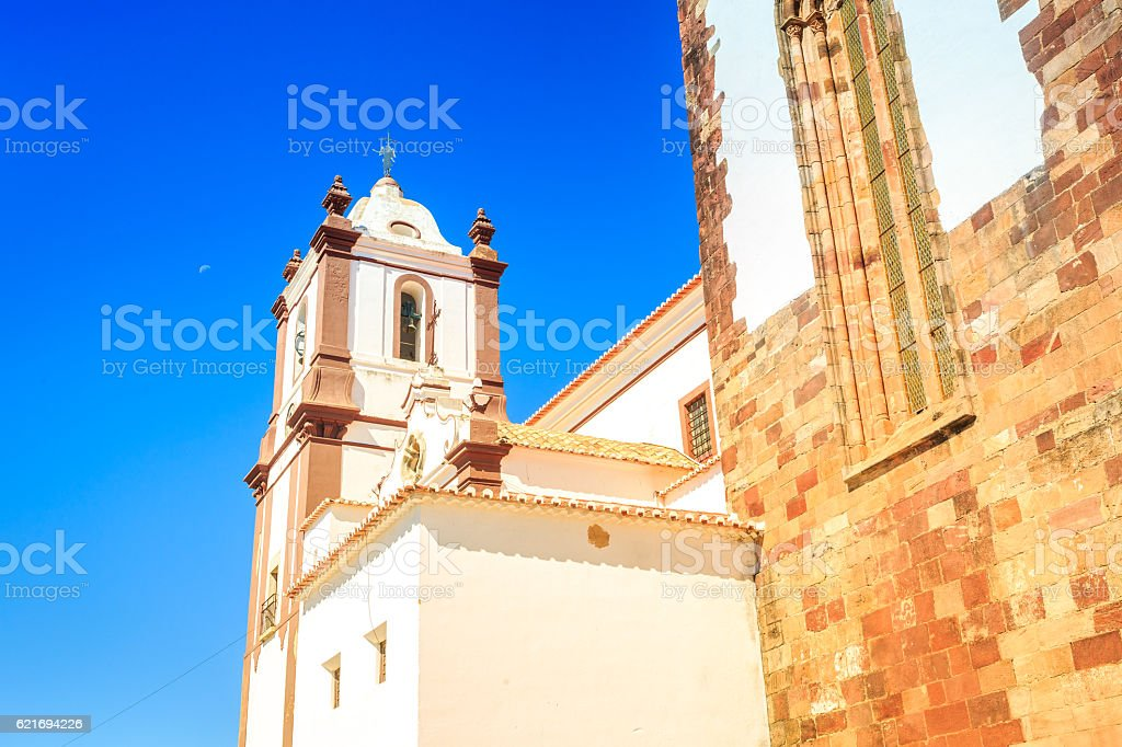Close up of medieval cathedral in Silves, Portugal stock photo
