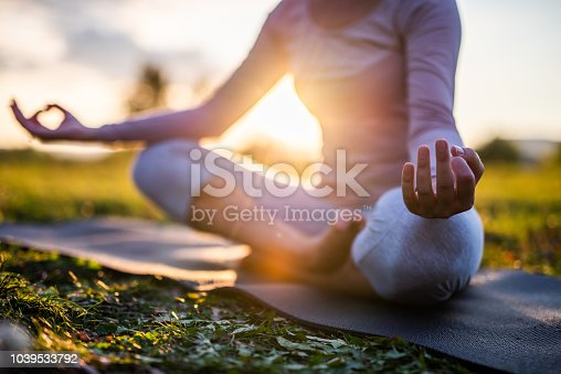 istock Close up of meditation in park at sunrise. 1039533792
