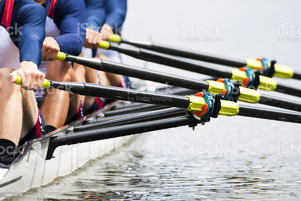 Close up of men's rowing team stock photo
