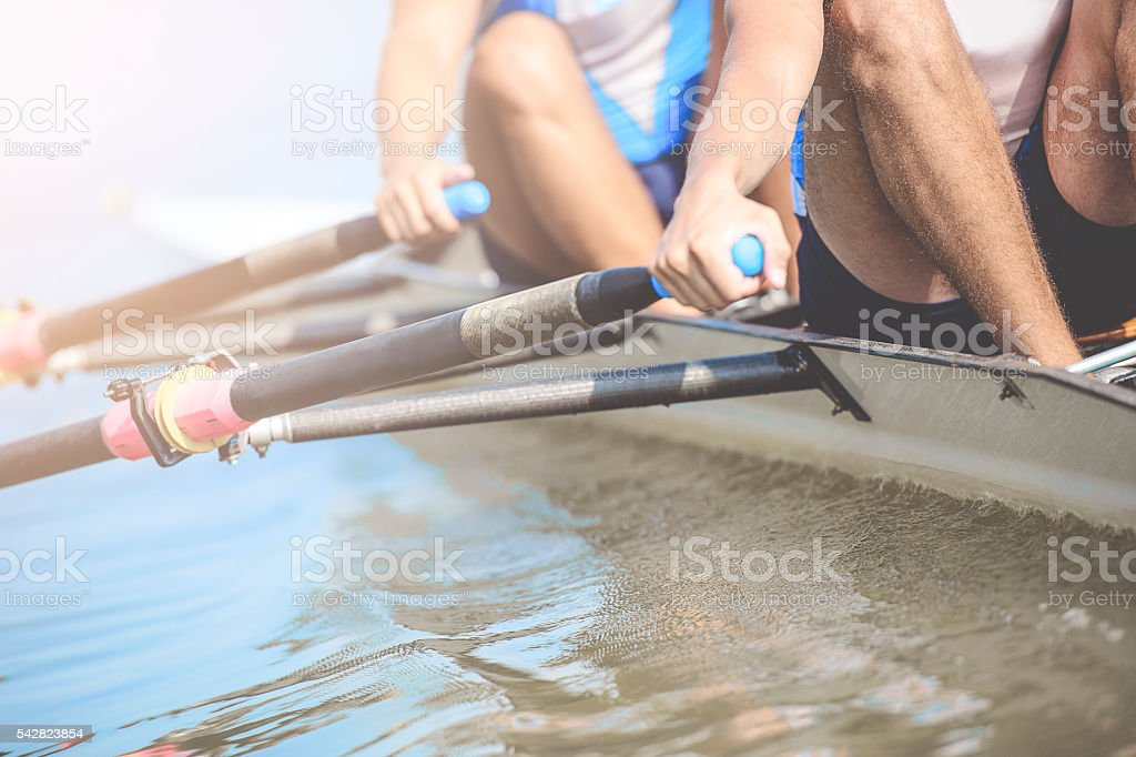 Close up of men's rrowing team stock photo