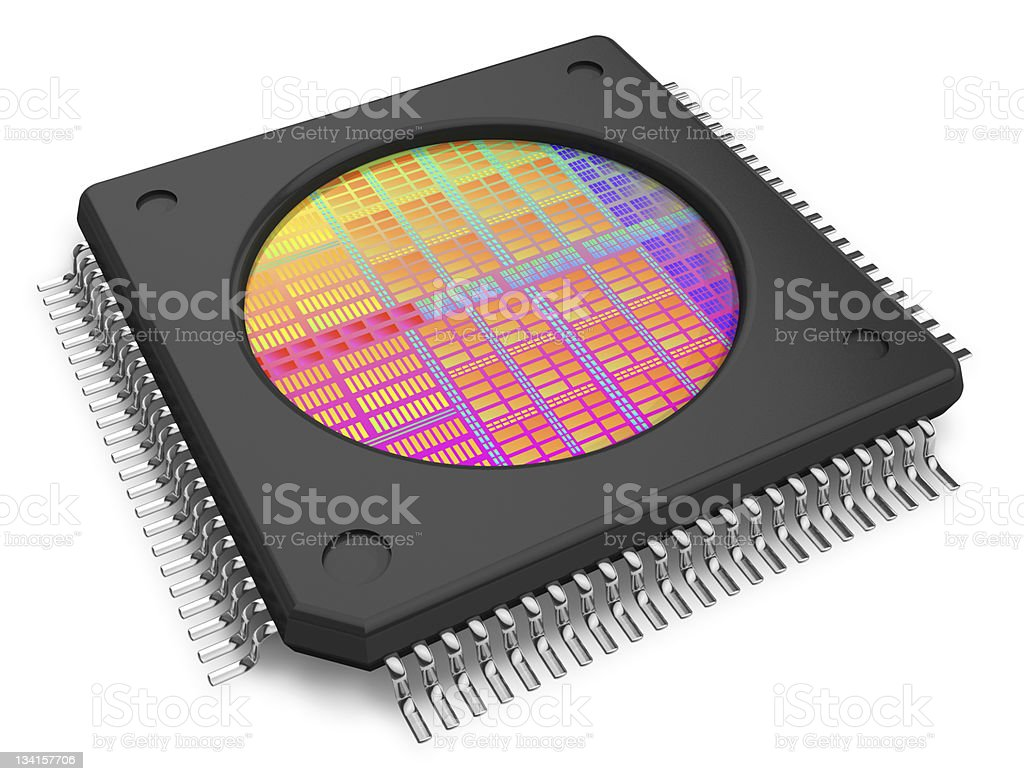 Close up of microchip with visible die in center stock photo